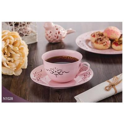 Neva N1028 Palace Dantels 12 Prç. Pembe Kahve Takımı Çay Seti