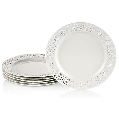 Neva N609 Daisy Dantels 6 Prç. Beyaz Pasta Tabaği Yemek Takımı