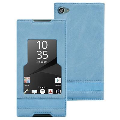 Microsonic Sony Xperia Z5 Compact (z5 Mini) Kılıf Gizli Mıknatıslı View Delux Mavi Cep Telefonu Kılıfı