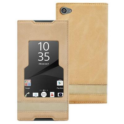 Microsonic Sony Xperia Z5 Compact (z5 Mini) Kılıf Gizli Mıknatıslı View Delux Gold Cep Telefonu Kılıfı