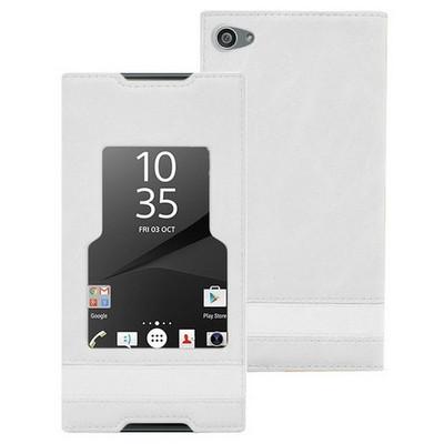 Microsonic Sony Xperia Z5 Compact (z5 Mini) Kılıf Gizli Mıknatıslı View Delux Beyaz Cep Telefonu Kılıfı