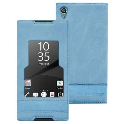 Microsonic Sony Xperia Z5 Kılıf Gizli Mıknatıslı View Delux Mavi Cep Telefonu Kılıfı