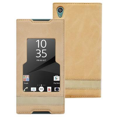 Microsonic Sony Xperia Z5 Kılıf Gizli Mıknatıslı View Delux Gold Cep Telefonu Kılıfı