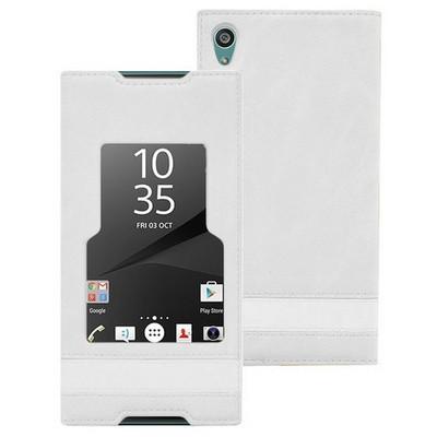 Microsonic Sony Xperia Z5 Kılıf Gizli Mıknatıslı View Delux Beyaz Cep Telefonu Kılıfı
