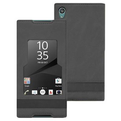 Microsonic Sony Xperia Z5 Kılıf Gizli Mıknatıslı View Delux Siyah Cep Telefonu Kılıfı