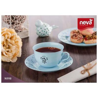 Neva N998 Rosemary Dantels 12 Prç. Turkuaz Çay Takımı Fincan Takımı