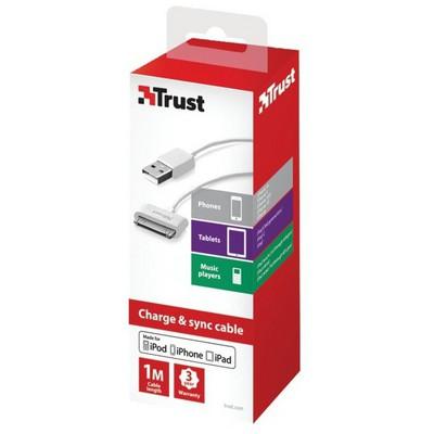 Trust 20371 30pin Apple Şarj Kablosu Beyaz USB Kablolar