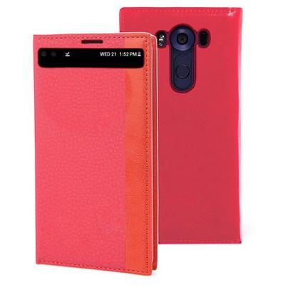 Microsonic Lg V10 Kılıf Gizli Mıknatıslı View Kırmızı Cep Telefonu Kılıfı