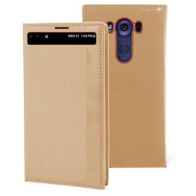 Microsonic Lg V10 Kılıf Gizli Mıknatıslı View Gold Cep Telefonu Kılıfı