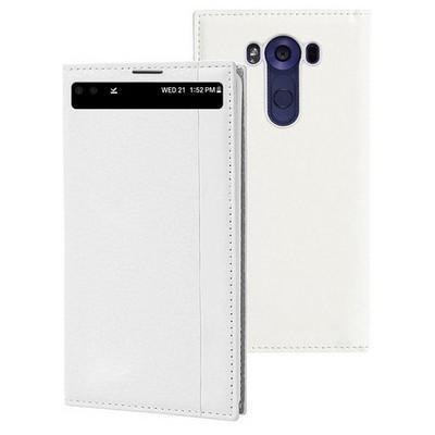 Microsonic Lg V10 Kılıf Gizli Mıknatıslı View Beyaz Cep Telefonu Kılıfı
