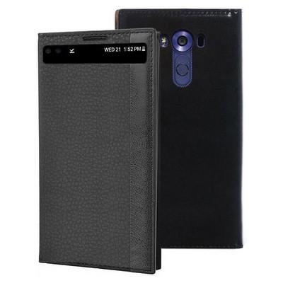 Microsonic Lg V10 Kılıf Gizli Mıknatıslı View Siyah Cep Telefonu Kılıfı