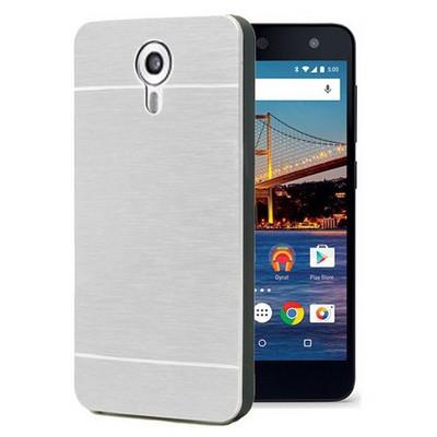 Microsonic General Mobile Android One 4g Kılıf Hybrid Metal Gümüş Cep Telefonu Kılıfı