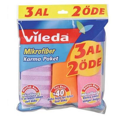Vileda Mikrofiber Bez Karma Paket 3 Al 2 Öde Bez / Sünger