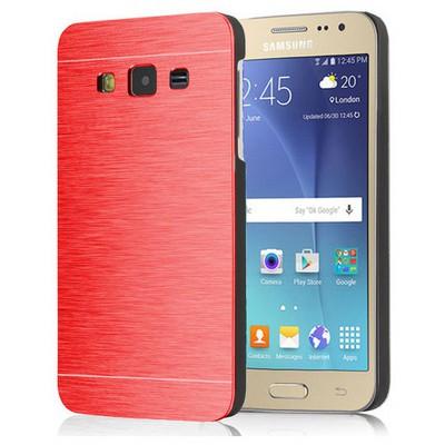 Microsonic Samsung Galaxy J2 Kılıf Hybrid Metal Kırmızı Cep Telefonu Kılıfı