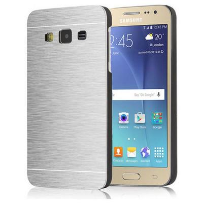 Microsonic Samsung Galaxy J2 Kılıf Hybrid Metal Gümüş Cep Telefonu Kılıfı