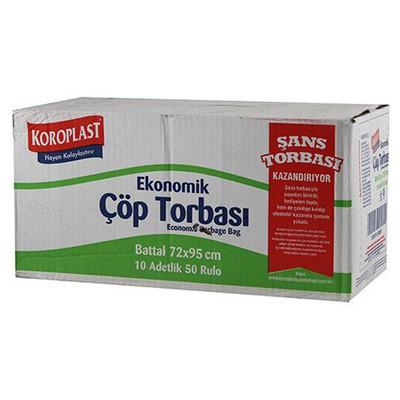 Koroplast Çöp Poşeti Ekonomik Battal Boy 72 X 95 Cm 1 Koli 10 Adet Çöp Torbaları