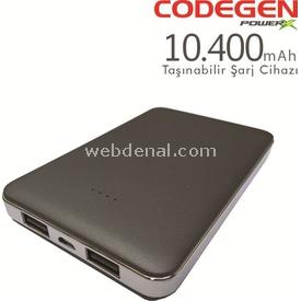 Codegen X10-g 10400 Mah Gri Powerbank Taşınabilir Şarj Cihazı