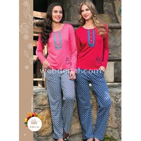 Feyza Bayan Pijam Takım Kırmızı M Gecelik & Pijama