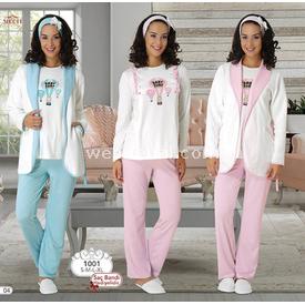 Mecit Lohusa 3'lü Emzirme Pijama Takım Pembe Xl Gecelik & Pijama