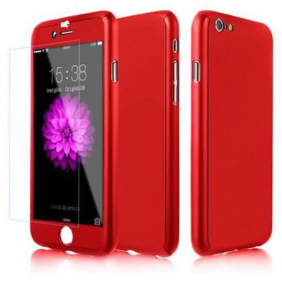 Microsonic Iphone 6s Plus Kılıf Komple Full Gövde Koruma Kırmızı Cep Telefonu Kılıfı