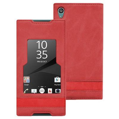 Microsonic Sony Xperia Z5 Premium Kılıf Gizli Mıknatıslı View Delux Kırmızı Cep Telefonu Kılıfı