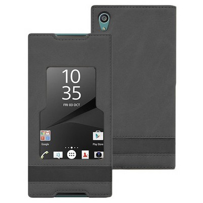 Microsonic Sony Xperia Z5 Premium Kılıf Gizli Mıknatıslı View Delux Siyah Cep Telefonu Kılıfı
