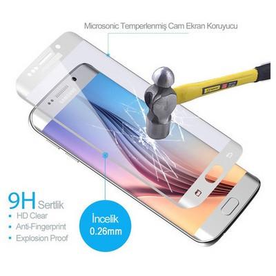 Microsonic Samsung Galaxy S6 Edge 3d Kavisli Temperli Cam Ekran Koruyucu Kırılmaz Film Beyaz Ekran Koruyucu Film