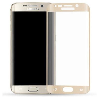 Microsonic Samsung Galaxy S6 Edge 3d Kavisli Temperli Cam Ekran Koruyucu Kırılmaz Film Gold Ekran Koruyucu Film