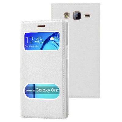Microsonic Samsung Galaxy On7 Kılıf Dual View Gizli Mıknatıslı Beyaz Cep Telefonu Kılıfı