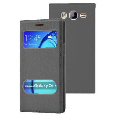 Microsonic Samsung Galaxy On7 Kılıf Dual View Gizli Mıknatıslı Siyah Cep Telefonu Kılıfı