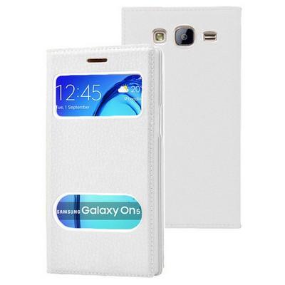 Microsonic Samsung Galaxy On5 Kılıf Dual View Gizli Mıknatıslı Beyaz Cep Telefonu Kılıfı
