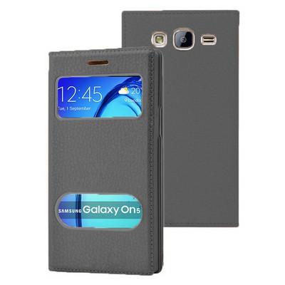 Microsonic Samsung Galaxy On5 Kılıf Dual View Gizli Mıknatıslı Siyah Cep Telefonu Kılıfı