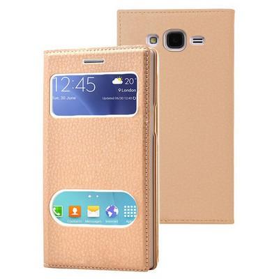 Microsonic Samsung Galaxy J7 Kılıf Dual View Gizli Mıknatıslı Gold Cep Telefonu Kılıfı