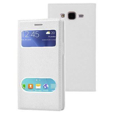 Microsonic Samsung Galaxy J7 Kılıf Dual View Gizli Mıknatıslı Beyaz Cep Telefonu Kılıfı