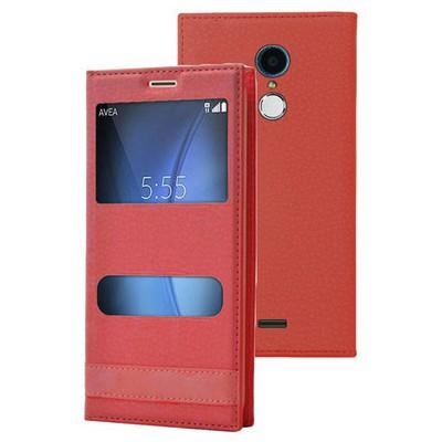 Microsonic Türk Telekom Tt175 Kılıf Dual View Gizli Mıknatıslı Kırmızı Cep Telefonu Kılıfı