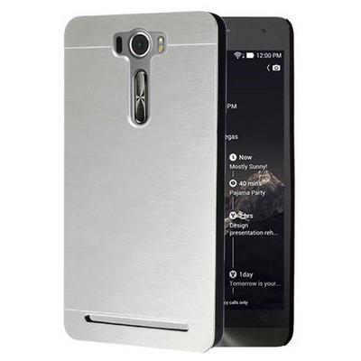 Microsonic Asus Zenfone 2 Laser 5.5 Inch Kılıf Hybrid Metal Gümüş Cep Telefonu Kılıfı