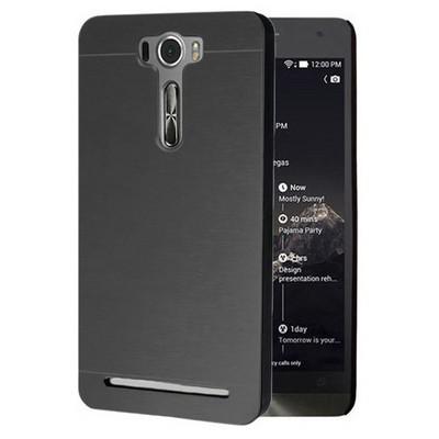 Microsonic Asus Zenfone 2 Laser 5.5 Inch Kılıf Hybrid Metal Siyah Cep Telefonu Kılıfı