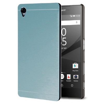 Microsonic Sony Xperia Z5 Kılıf Hybrid Metal Mavi Cep Telefonu Kılıfı