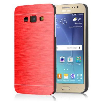 Microsonic Samsung Galaxy J1 Kılıf Hybrid Metal Kırmızı Cep Telefonu Kılıfı