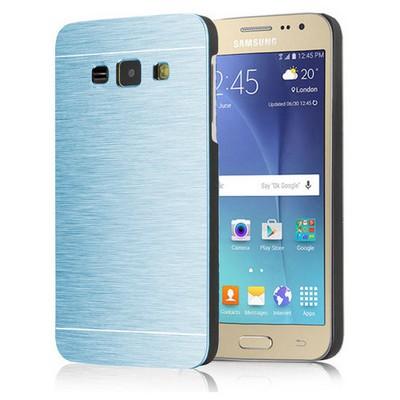 Microsonic Samsung Galaxy J1 Kılıf Hybrid Metal Mavi Cep Telefonu Kılıfı