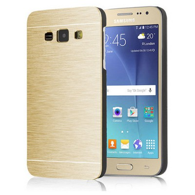 Microsonic Samsung Galaxy J1 Kılıf Hybrid Metal Gold Cep Telefonu Kılıfı