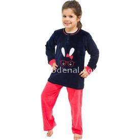 Roly Poly 2767 Kadife Kız Çocuk Pijama Takımı Lacivert-narçiçeği 1 Yaş (86 Cm) Kız Bebek Pijaması