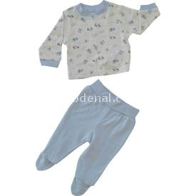 Bebetto F822 Tpy World Penye Mini Pijama Takımı Mavi 0-3 Ay (56-62 Cm) Erkek Bebek Pijaması