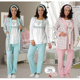 Mecit Lohusa 3'lü Pijama Takım Pembe S Gecelik & Pijama