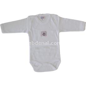 Misket 355 Uzun Kollu Bady Beyaz- Pembe 0-3 Ay (56-62 Cm) Kız Bebek Body