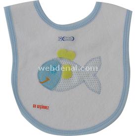 Bahar 0766 Çıtçıtlı Havlu Önlük Mavi Bebek Besleme