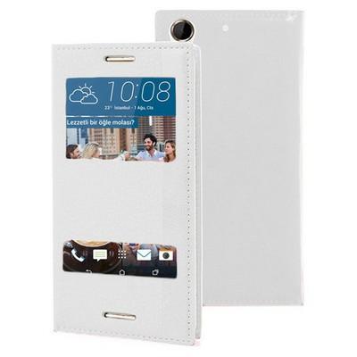 Microsonic Htc Desire 728g Kılıf Dual View Gizli Mıknatıslı Beyaz Cep Telefonu Kılıfı