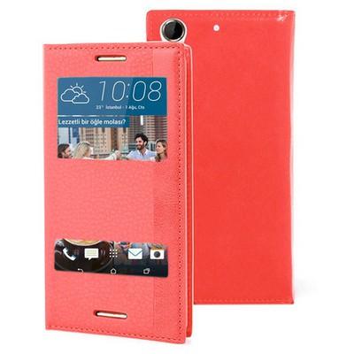 Microsonic Htc Desire 728g Kılıf Dual View Gizli Mıknatıslı Kırmızı Cep Telefonu Kılıfı