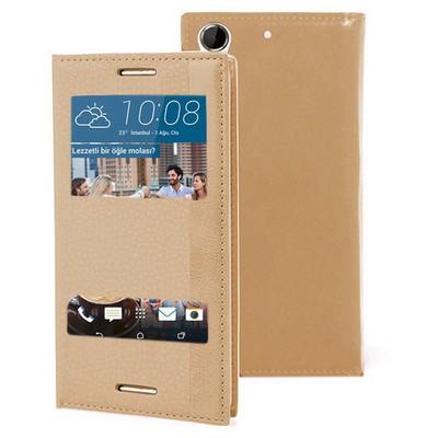Microsonic Htc Desire 728g Kılıf Dual View Gizli Mıknatıslı Gold Cep Telefonu Kılıfı
