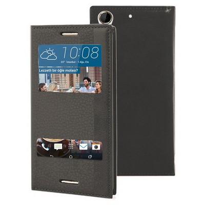 Microsonic Htc Desire 728g Kılıf Dual View Gizli Mıknatıslı Siyah Cep Telefonu Kılıfı